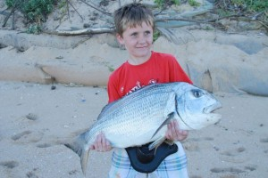 This 9 year old had captured a 13-15kg fish with the help of his father