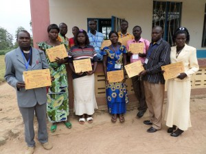 The psycho-social workers and lab-technicians with their certificates