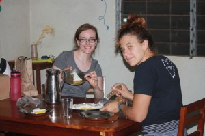 Caroline (left) and Laura ready to enjoy the lemon meringue pie.